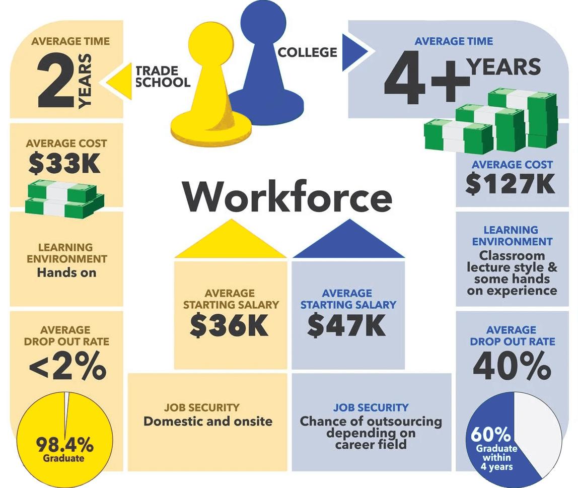 Trade schools vs universities - Workforce Chart