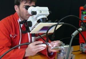 Precision micro welding using microscope