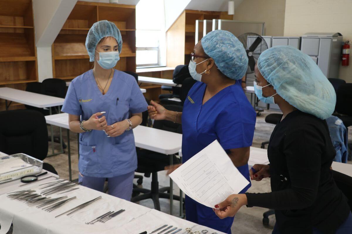 sterile technician training in progress
