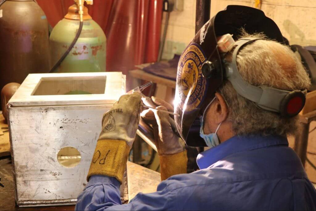 welding demonstration in trade school for welding