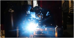 welding process in metal fabrication in progress