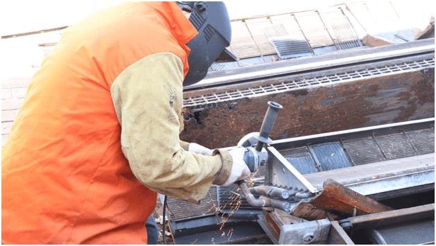 Plumbing student training in welding in the plumbing certification course