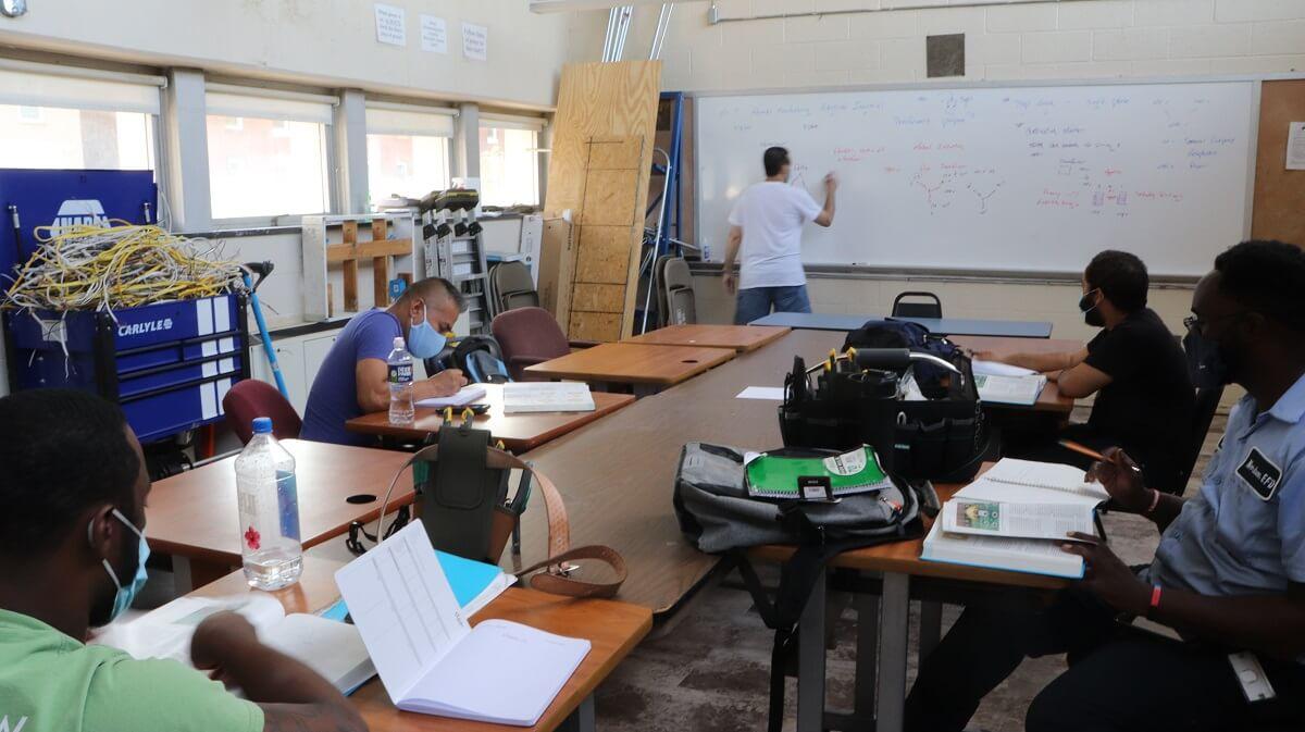 Students in an electrician school in Philadelphia