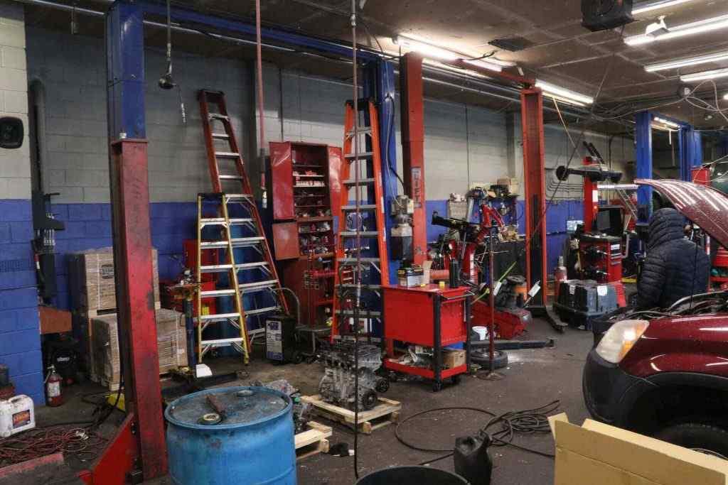 Auto shop at car repair program at automotive tech institute